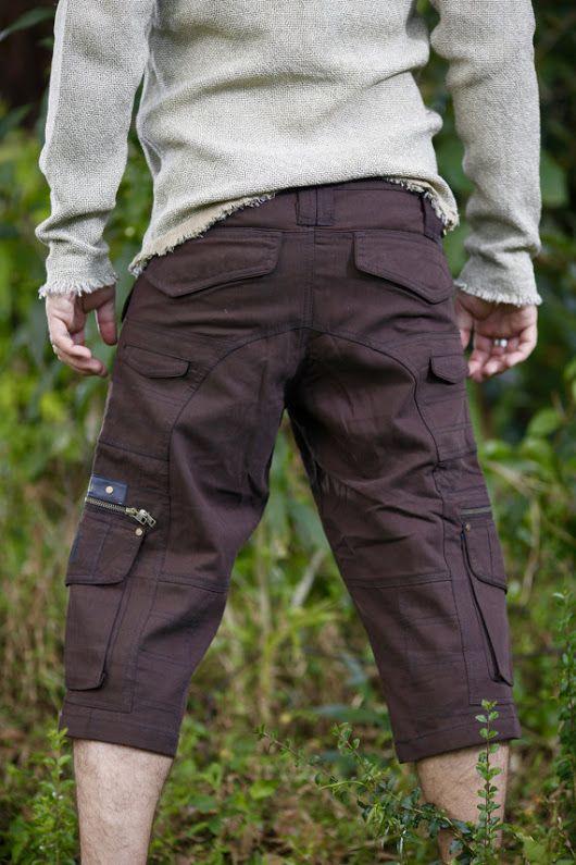 Dark Brown Three Quarters Cargo Goa Pants Shorts Functional Many Pockets, zips Rave Gypsy Festival Tribal Heavy Duty Mens Clothing AJJAYA