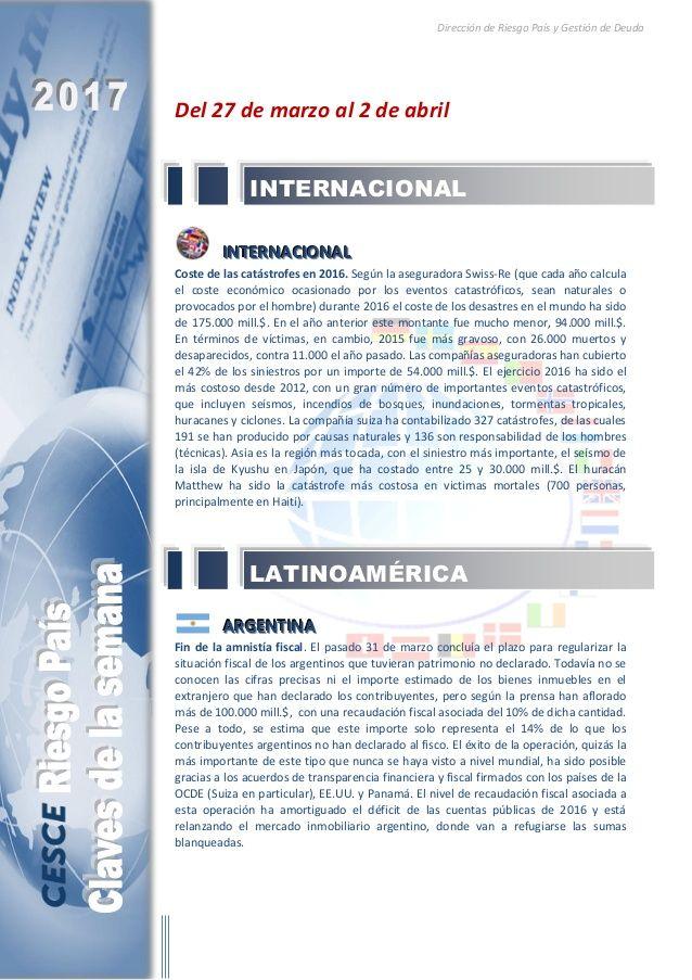 Resumen de las noticias internacionales más destacadas del 27 de marzo al 2 de abril de 2017, elaborado por el departamento de Riesgo País de CESCE.