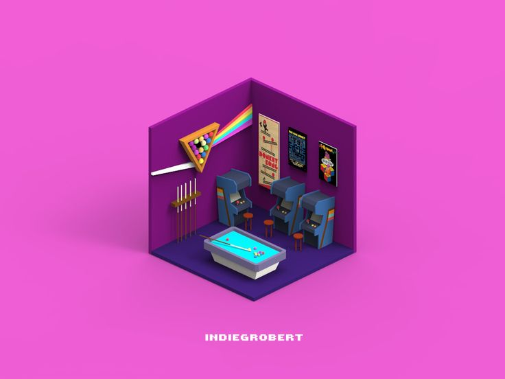 ArtStation - Arcade Room - Isometric series, ruimin zhu