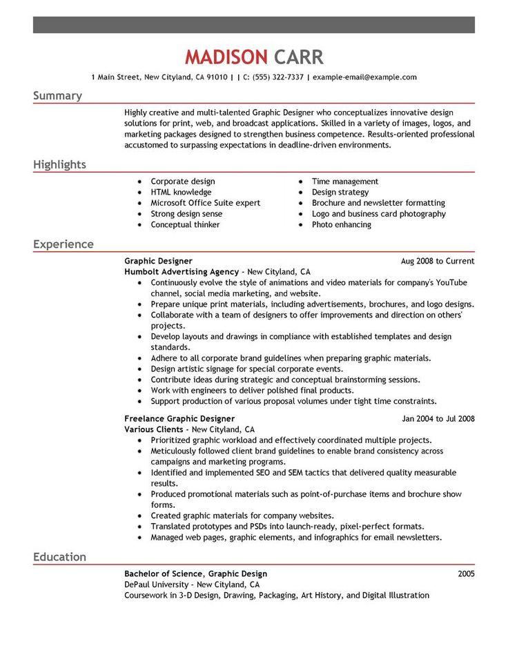 best 25+ graphic designer resume ideas on pinterest | graphic ... - Graphic Design Resume Example