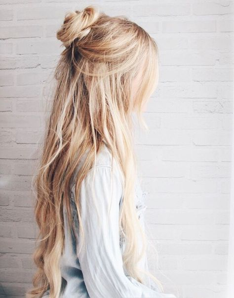 pretty half-up style for long hair