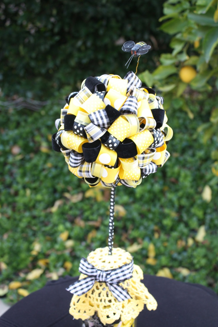 """Look! It's a """"topiary"""" (said with a british accent) Adorable Bumble Bee Ribbon Topiary. $35.00, via Etsy."""