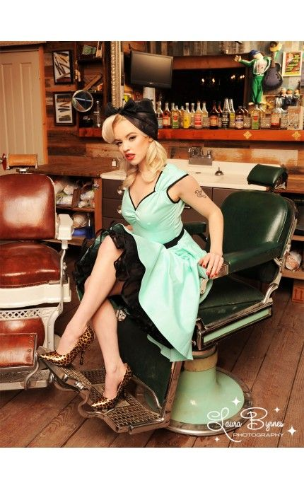 Heidi Dress in Cool Mint with Black Trim | Pinup Girl Clothing