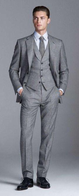 b2a1641b8c Look masculino de terno e colete cinza e gravata Colete Social Masculino