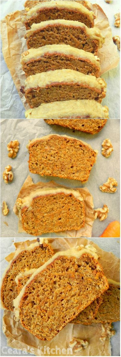 This Healthy Vegan Carrot Cake w/ Cinnamon Cream Cheese Icing is soft, moist + delicious! Oil-free