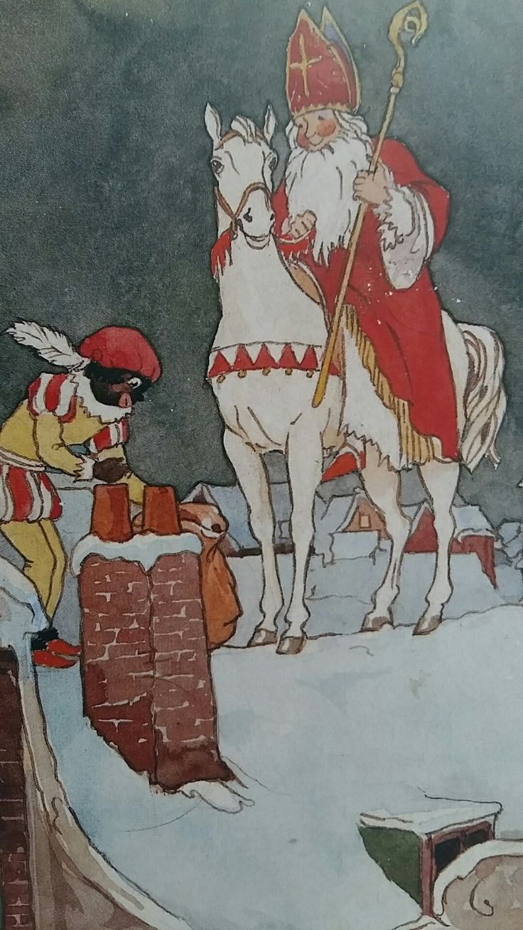 Sinterklaas en Piet op het dak