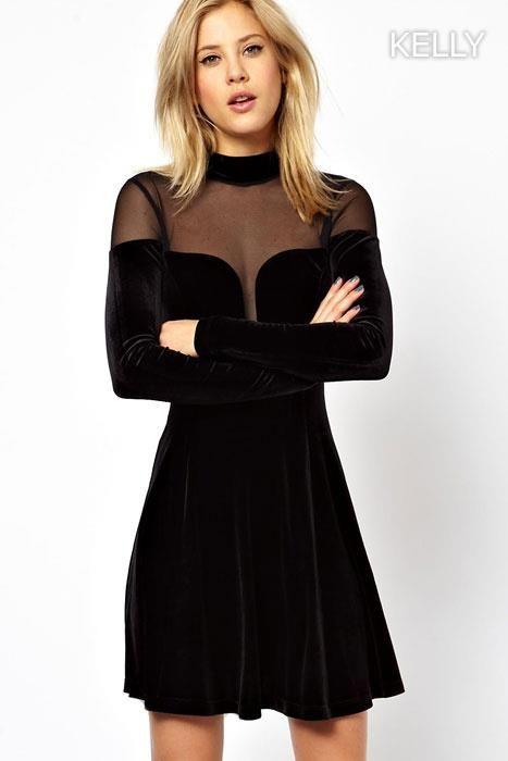 KELLY Dámské šaty středně dlouhé sametové černé