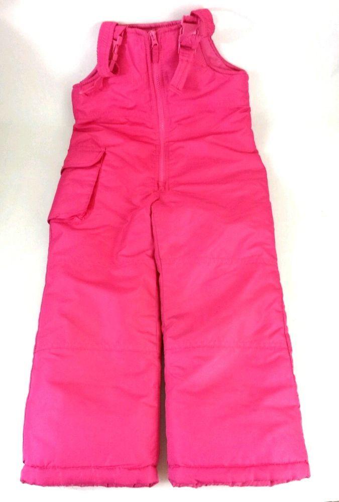 e16149ce38ab London Fog Girls Snow Ski Pants Size M 5 6 Pink Adjustable Bib ...
