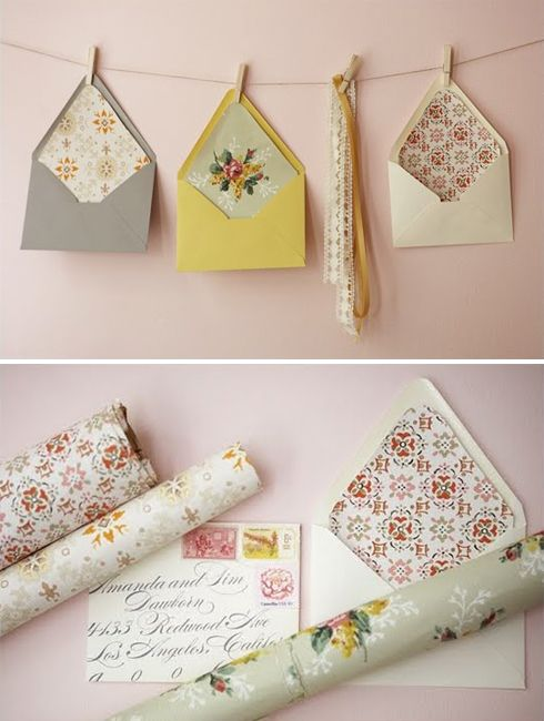 Envelope liners from wallpaper or scrapbook paper, then we could hang the envelopes like shown and use that to give people encouragement throughout the week! i think it's cute :)