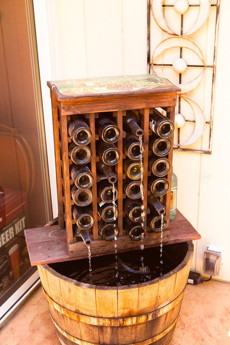 Homemade wine bottle fountain