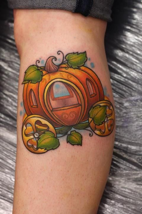 Cinderella's pumpkin carriage. Done by Michelle Maddison, apprentice at Nemisis Tattoo