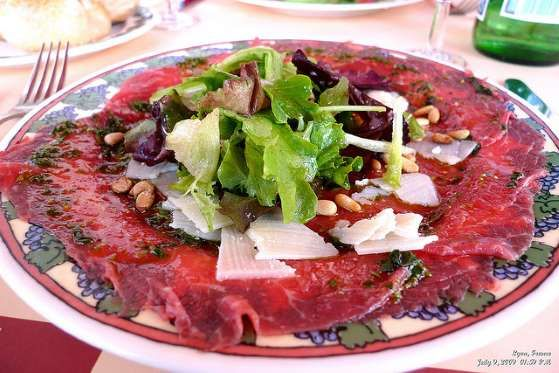 Second to steak tartare, the thinly sliced Italian carpaccio is probably the most familiar raw dish ... - Flickr/Beholder