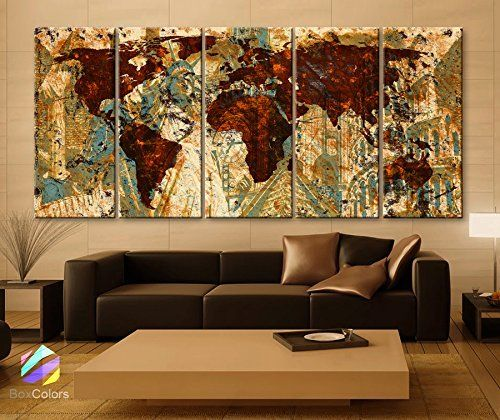 Home Decorators Collection | Original by BoxColors XLARGE 30x 70 5 Panels Art Canvas Print Original Wonders of the world Old Brown Sepia Map Wall decor Home interior framed 15 depth ** To view further for this item, visit the image link. Note:It is Affiliate Link to Amazon.