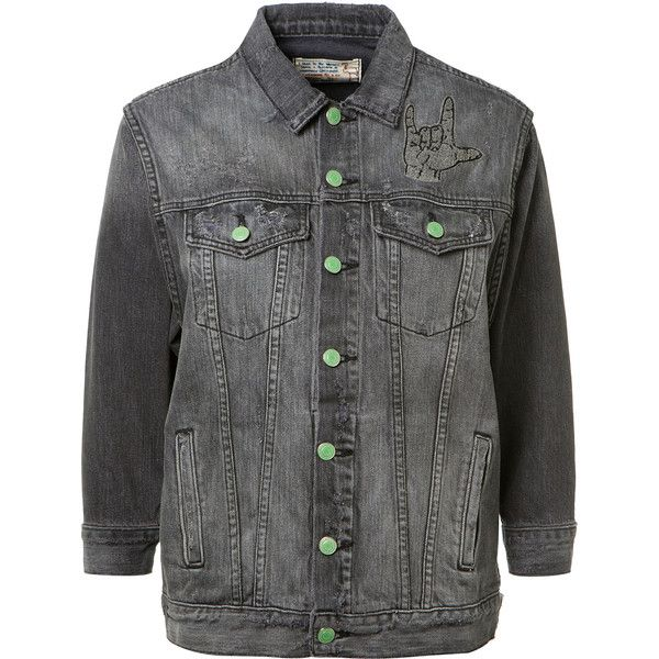 Sandrine Rose Embroidered Grey Denim Jacket (2.450 BRL) ❤ liked on Polyvore featuring outerwear, jackets, 3/4 sleeve jacket, embroidered jacket, embroidered jean jacket, gray jean jacket and embroidered denim jacket