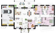 Plan habillé Rez-de-chaussée - maison - Maison contemporaine 1