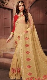 Beige Color Embroidered Chiffon Designer Sari #southsilksareesbangalore #silversaree Eulogize your luxurious charm draped in this beige color embroidered chiffon designer sari. The wonderful floral patch, lace, resham, sequins and stones work a vital feature of this saree. Upon request we can make round front/back neck and short 6 inches sleeves regular saree blouse also. USD $ 139 (Around £ 96 & Euro 106)