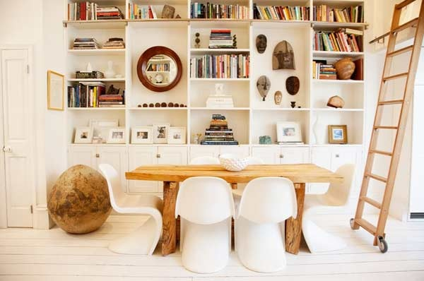 loft livingChairs, Shelves, Modern Dining Room, Interiors Design, Bookcas, House, Small Spaces, White Interiors, Dining Tables