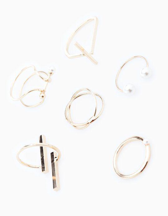 Set of 5 geo-pearl rings - RINGS - WOMAN | Stradivarius Israel