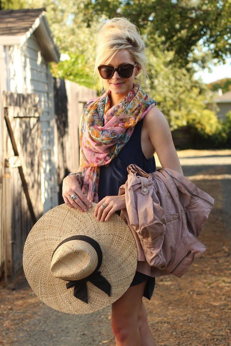 Summer outfit ideas with scarf - wear a flower print summer scarf with a simple A-line dress & pair with big sunglasses
