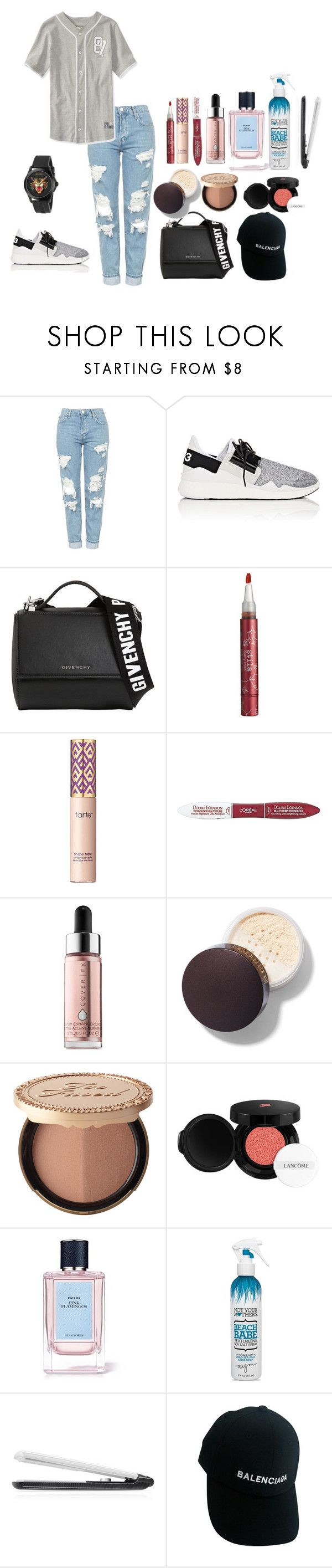 """boyish"" by rahmadita14 on Polyvore featuring Topshop, Y-3, Givenchy, Stila, tarte, L'Oréal Paris, Cover FX, Too Faced Cosmetics, Lancôme and Prada"