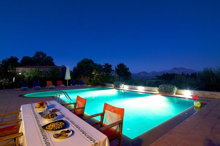 www.allaria.gr Villa Allaria Crete #villa #crete #greece #vacation_rental #luxury #private #holidays #summer_in_crete #island #pool_area #night_time #dining_table #outdoors