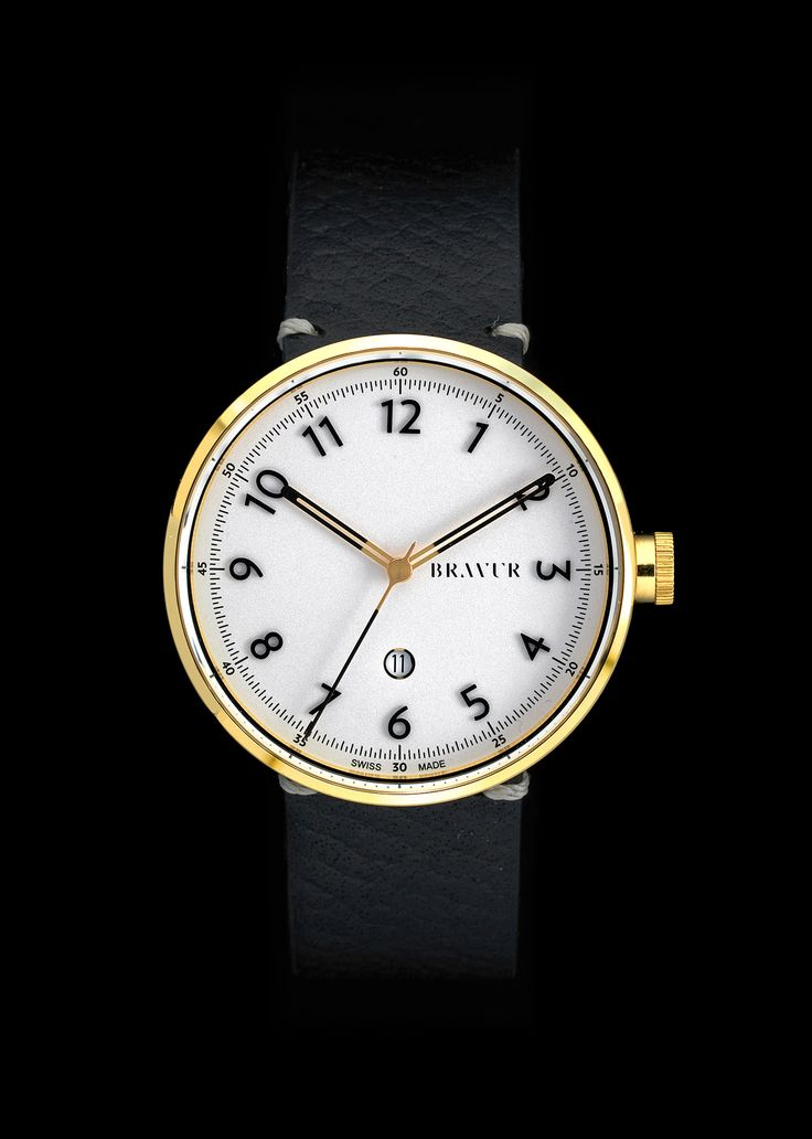 Bravur BW102 wrist watch with gold plated case, applied matte black numerals. Swiss Made. ETA quartz