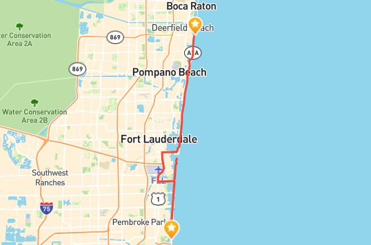 The Broward County A1A Scenic Highway consists of a 32-mile stretch of State Road A1A from Deerfield Beach down to Hallandale Beach.