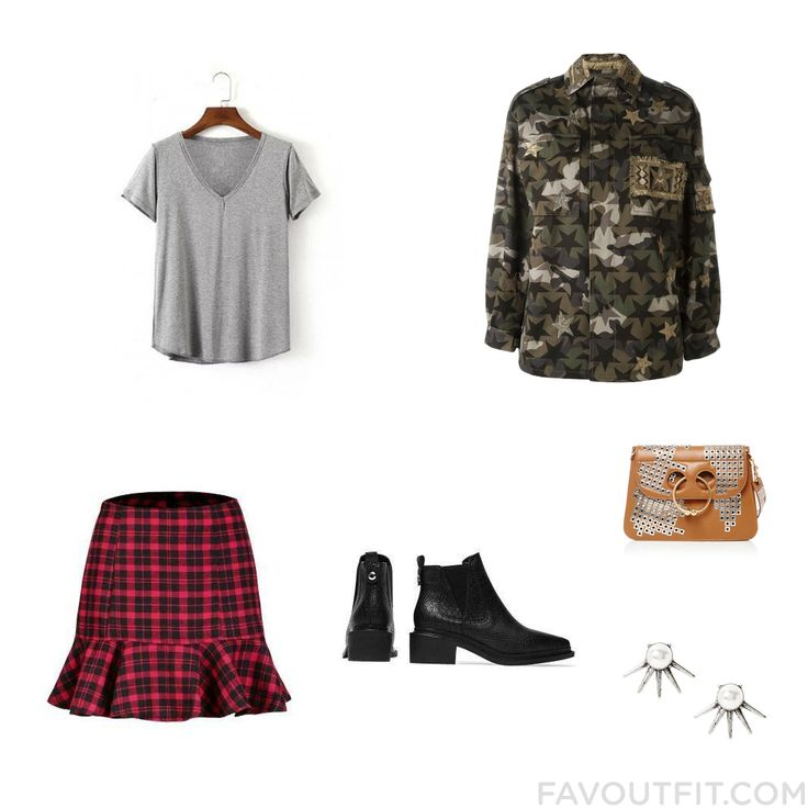 Fashion Ideas Including T-Shirt Army Green Jacket Skirt And Bootie Boots From August 2016 #outfit #look