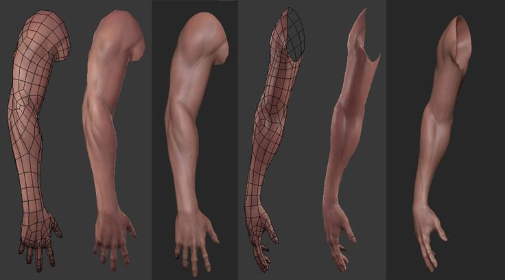 Low-poly arm topology. (artist: Pablo Gonzalez)