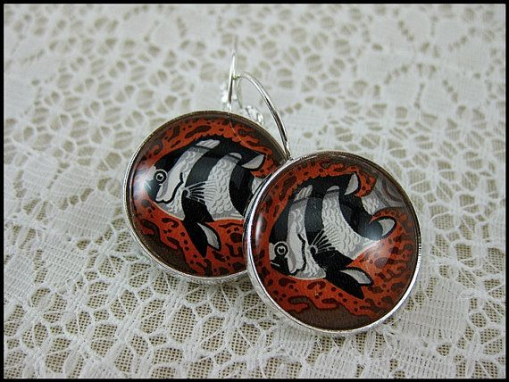 Postage Stamp Earrings / Humbug Fish / Australia c. by OhThePost