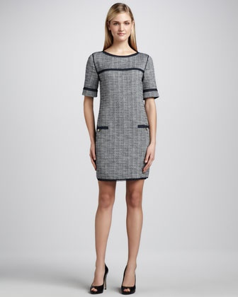 Boucle Solid-Trimmed Dress by Magaschoni at Neiman Marcus.