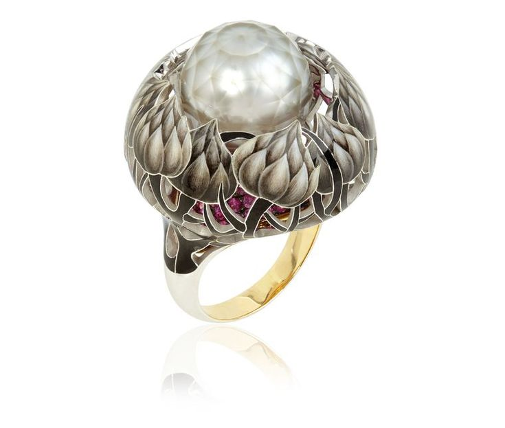 Ilgiz for Annoushka, Burdock faceted pearl ring - enamelling, faceted pearl, pavé ruby base, yellow gold.