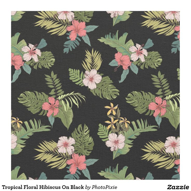 Tropical Floral Hibiscus On Black Material