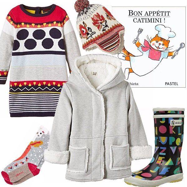 I colori ci piacciono negli outfit dei grandi, per gli outfit dei bimbi ci piacciono ancora di più. Vestitino con pois e righe, cappellino in stile indio, stivaletto con letterine, calzino multicolore, cappottino di felpa e pelliccia sintetica.
