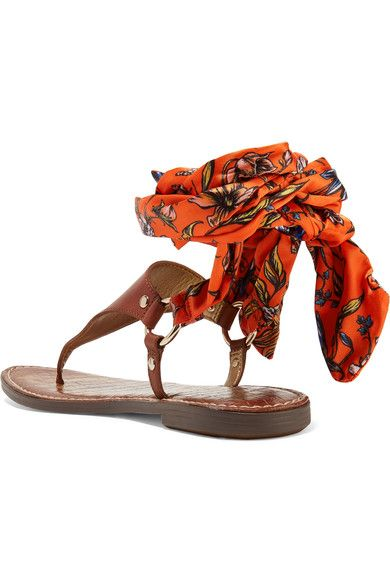Sam Edelman - Giliana Leather And Printed Satin Sandals - Brown - US