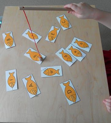 make your own fishing game using paperclips. and a stick, string and magnet on the end