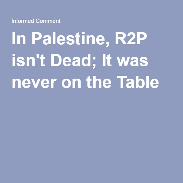 In Palestine, R2P isn't Dead; It was never on the Table