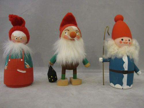 Details about VINTAGE WOODEN CHRISTMAS TOMTE ELVES GNOMES ...