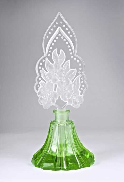 Lot: 1930s Czechoslovakian green crystal perfume bottle, Lot Number: 0065, Starting Bid: $150, Auctioneer: Perfume Bottles Auction, Auction: Perfume Bottles Auction, Date: May 2nd, 2015 EDT