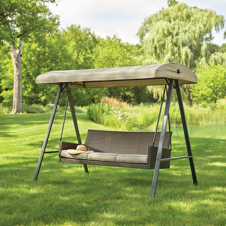 Hampton Bay Plaistow 3-Person All Weather Wicker Patio Swing with Canopy