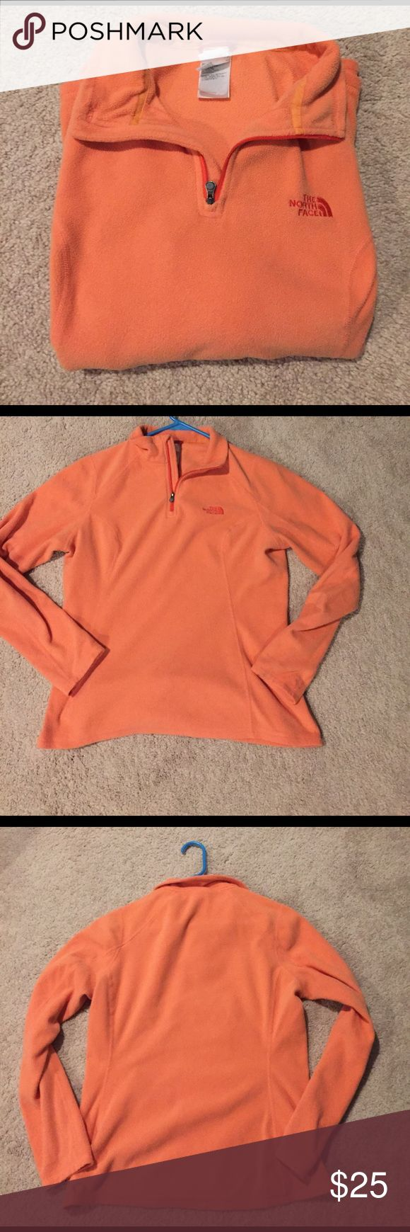 Ladies North Face. Coral Size Medium Women's North Face Pull Over Fleece. Coral colored in a Medium. This is used and In good condition, no stains, tears or other issues. The North Face Jackets & Coats