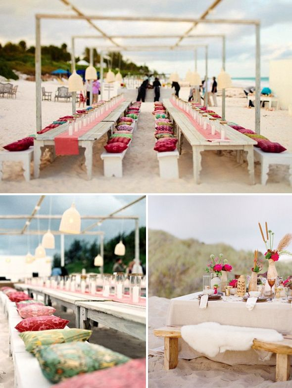 colorful beach side wedding reception long bench tables