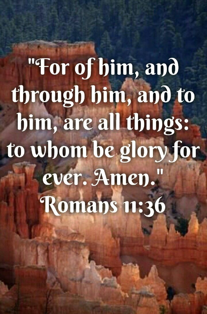 Romans 11:36 (KJV) For of him, and through him, and to him, are all things: to whom  be glory for ever. Amen. | Best quotes, Super quotes, Happy quotes smile