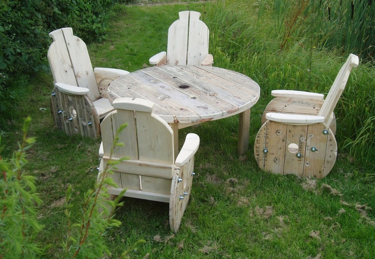 Patio furniture upcycled from cable reels