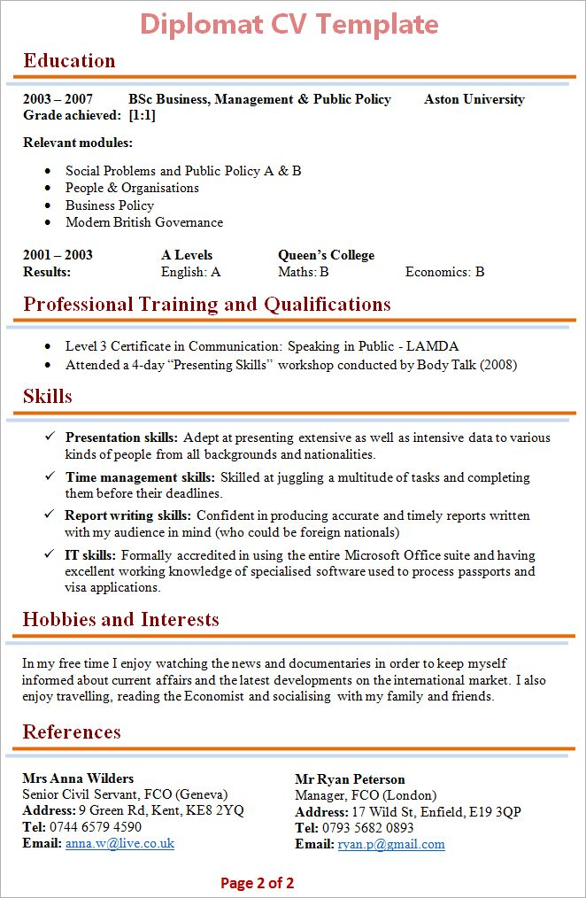 cv template hobbies  resume format  cv template
