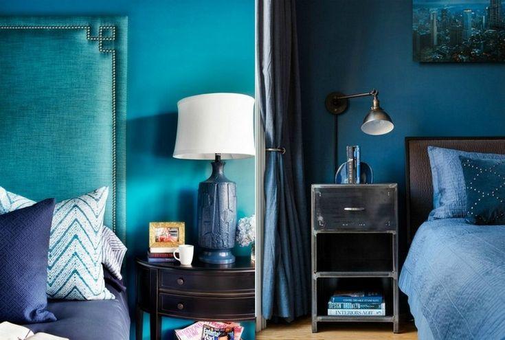 déco bleu canard tête de lit idée lampe à pied meuble bois chambre