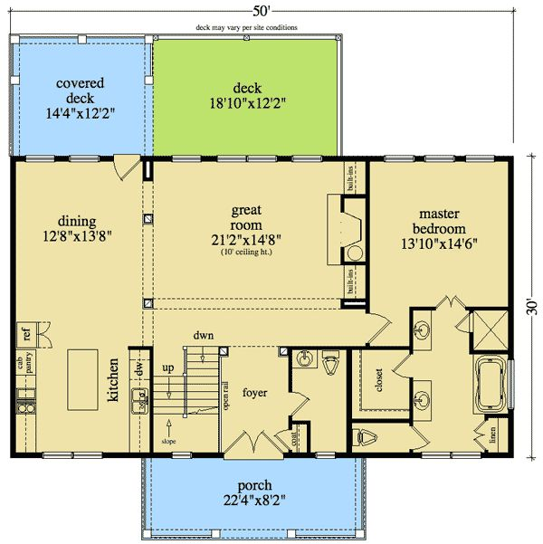 Plan 29860rl rustic house plan for sloping lot house for Sloped lot house plans