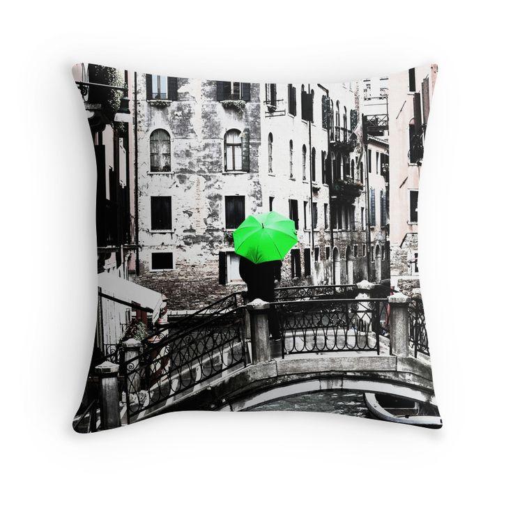 Throw Pillow - Green Umbrella in Venice #photo #venice #homedecor #redbubble