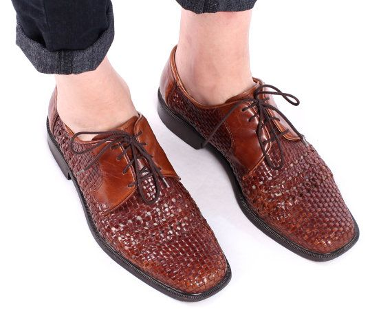 Basket Weave Leather Shoes 90s Mens Bourbon Brown by BetaApparel