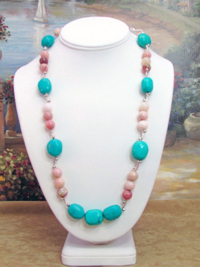 Turquoise, Opal and Silver Opera Length Necklace - T52 by daksdesigns on Etsy